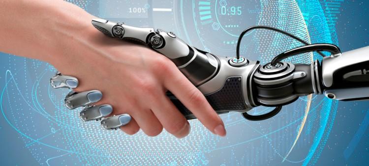 Mão humana e robótica realizando um comprimento